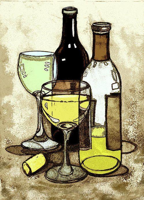 C Wine Still Life With Vineyard On Art Print Home Decor Wall Art Poster