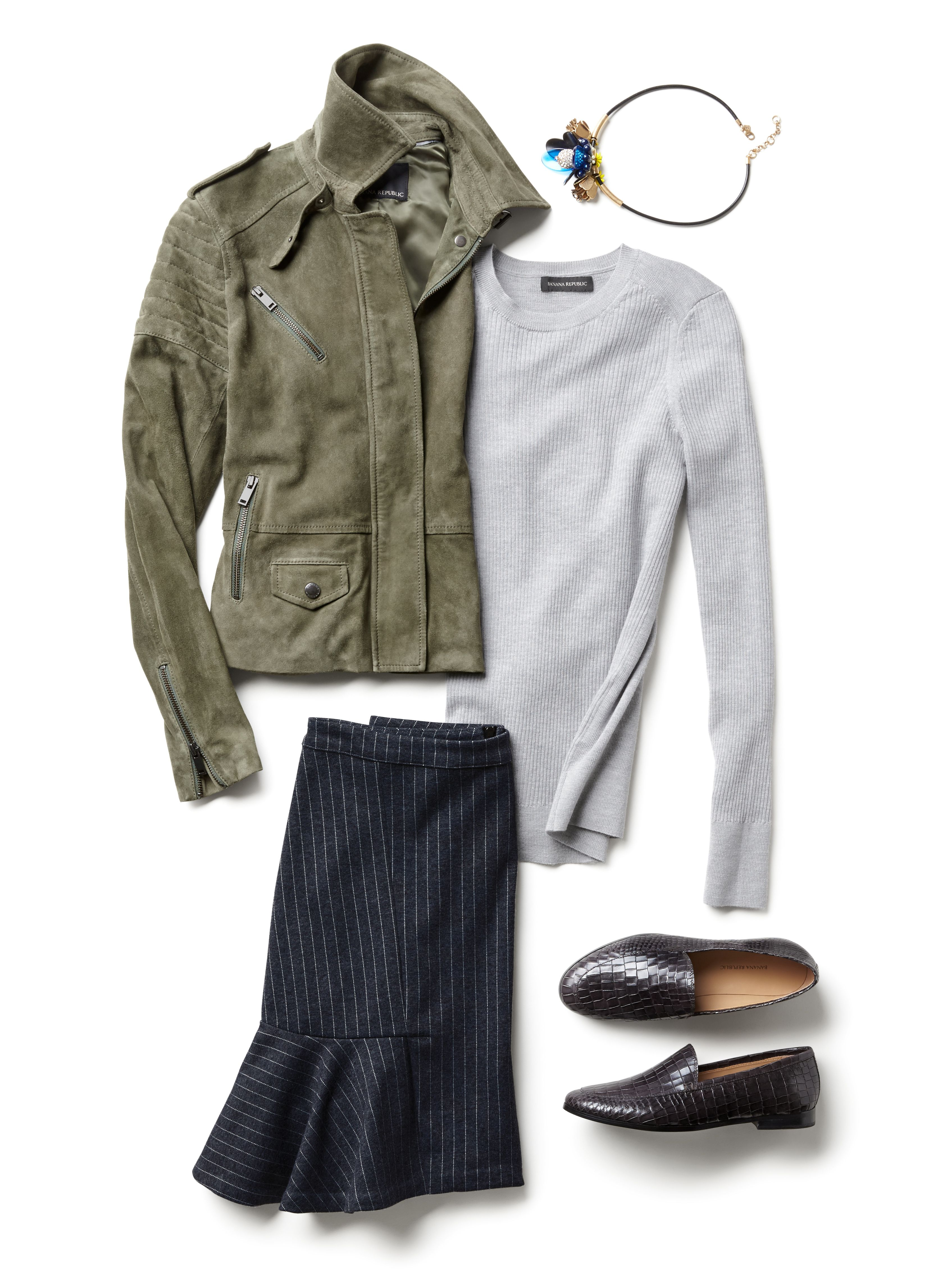 Add a ultra feminine twist to your menswear inspired look. Pair out classic stripe skirt with flared hem detail with a traditional suede moto jacket and a soft tee for an effortlessly chic, go anywhere look | Banana Republic