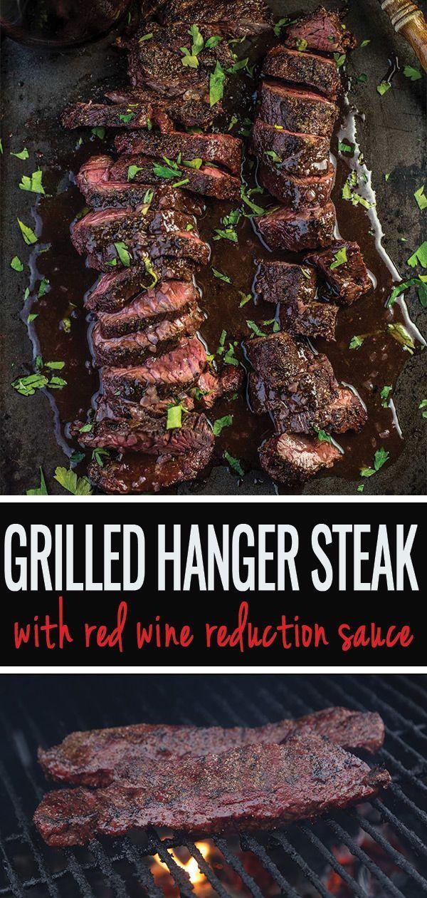Grilled Hanger Steak with Red Wine Reduction Sauce - Vindulge #grilledsteakmarinades
