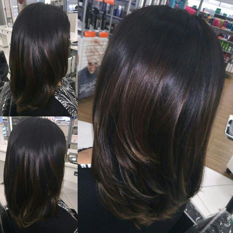 Mocha caramel highlights on dark layered hair Hair