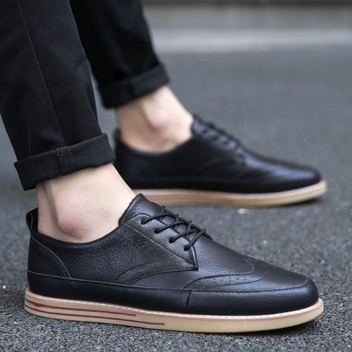 eef0602fd03c Genuine Leather Fashion Spring British Men s Sneakers Oxfords Flat Sole  Shoes