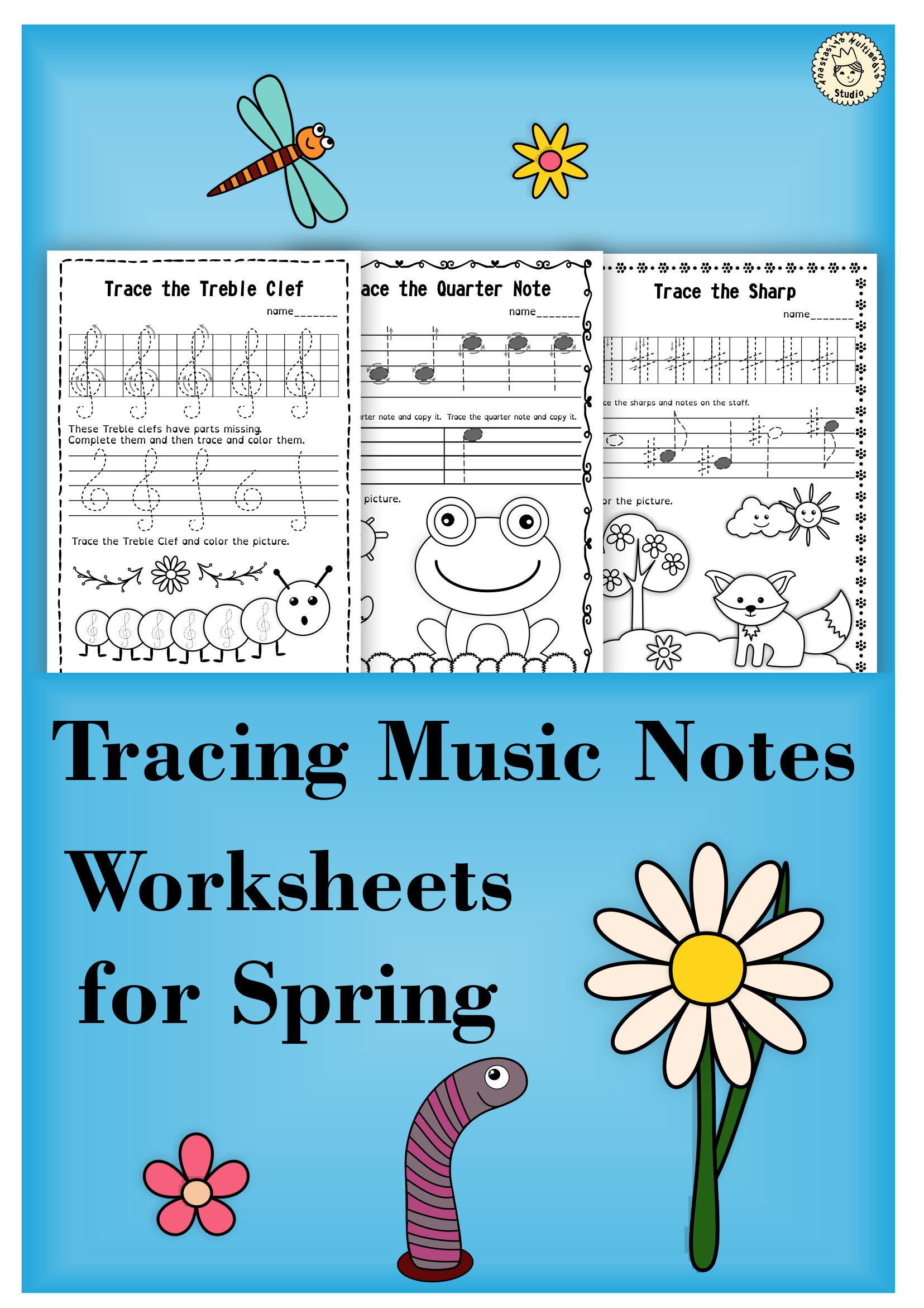 Tracing Music Notes Worksheets For Spring
