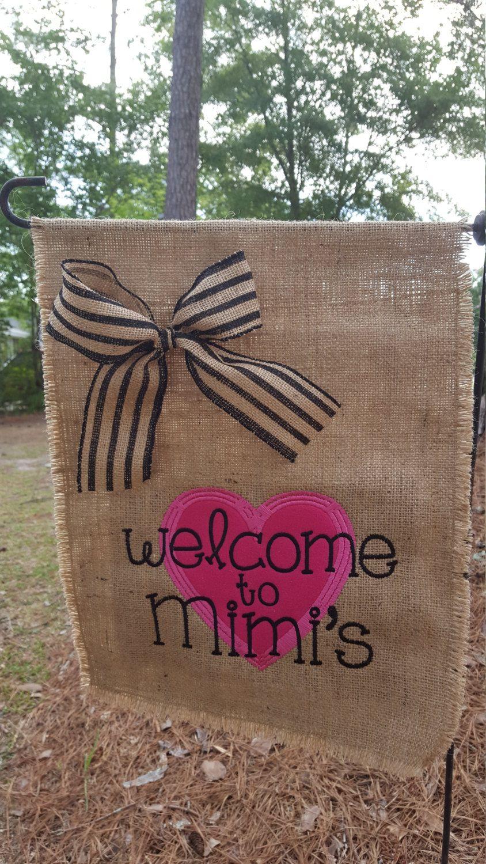 Garden Flag, Hostess Gift, Mimi's Heart Flag, Heart, Burlap Garden Flag, Welcome to Mimi's Flag, Welcome Flag, Mimi Heart  Flag by Marijeans on Etsy