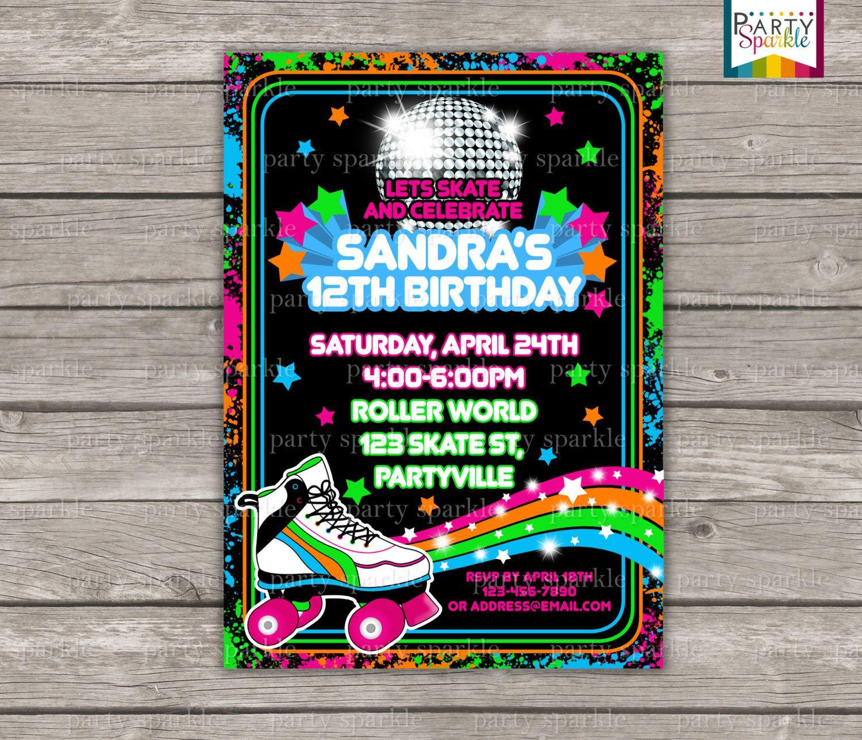 Neon Skate Party Retro Roller Disco Birthday by PartySparkle ...