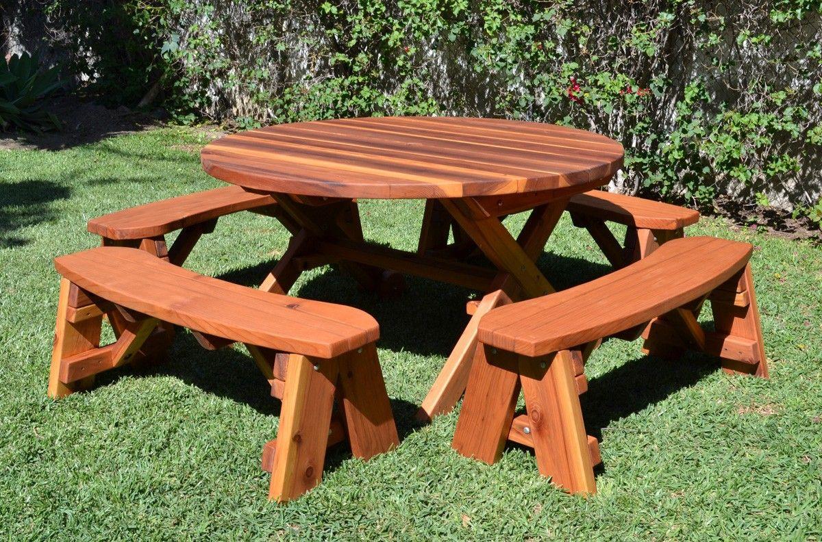 Fabulous Round Picnic Table With Benches For Eat In Kitchen Area In Inzonedesignstudio Interior Chair Design Inzonedesignstudiocom
