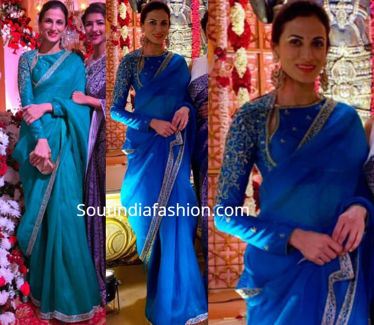 Shilpa Reddy In A Blue Organza Saree At A Wedding South India Fashion Organza Saree Fancy Blouse Designs Designer Blouse Patterns