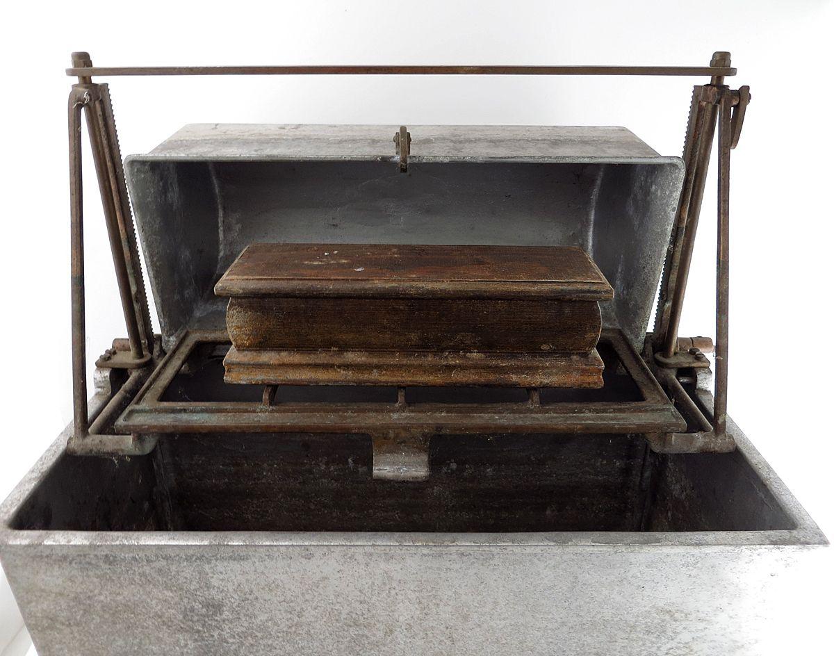 Antique Primitive Painted Child S Miniature Dresser: Mechanical Clark Casket Grave Vault Salesman Sample