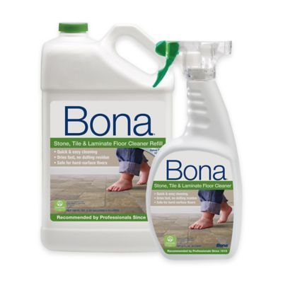 Bona 160 Oz Stone Tile And Laminate Floor Cleaner Refill With 22 Oz Bonus Spray Bottle Blue How To Clean Laminate Flooring Floor Cleaner Clean Laminate