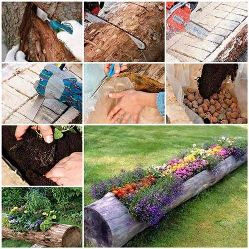 Bon How To Make Beautiful Log Garden Planter