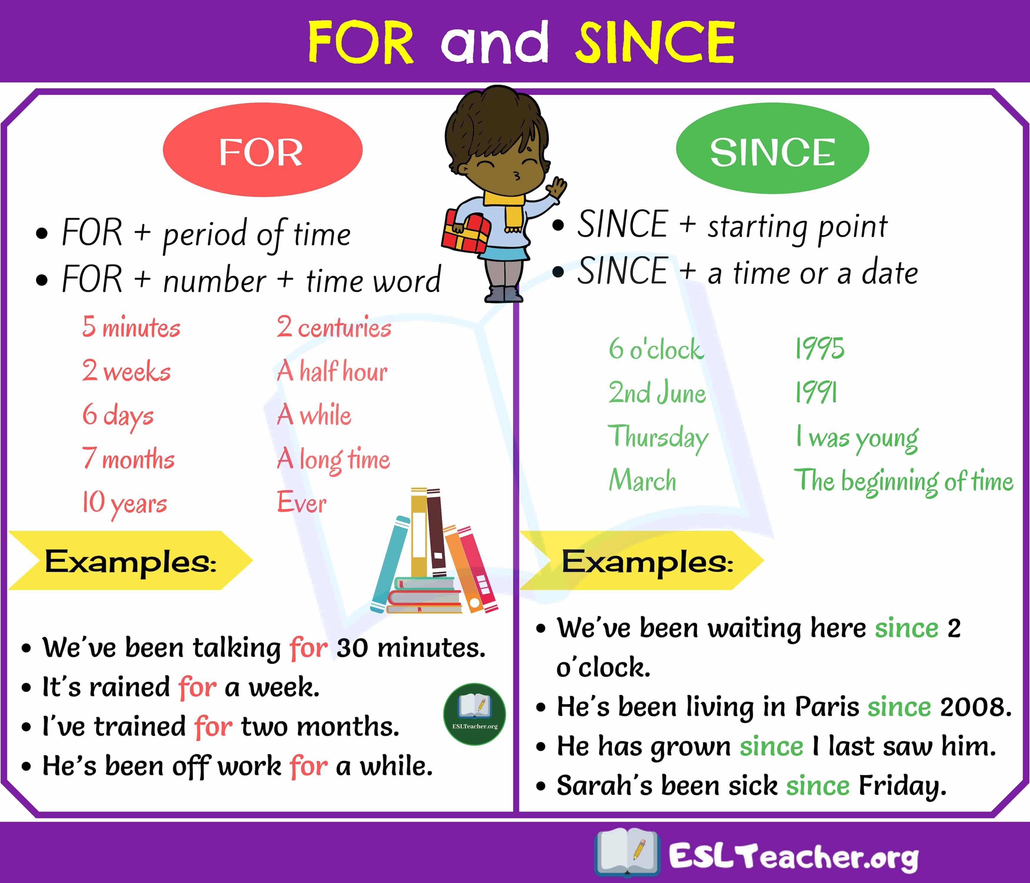 For Or Since Dicas De Ingles Professores De Ingles Gramatica