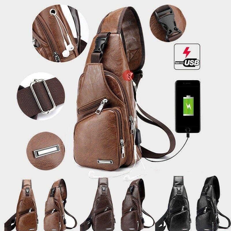 US Canvas Nylon Chest Bag Travel Sling Crossbody Shoulder Daypack School 15L