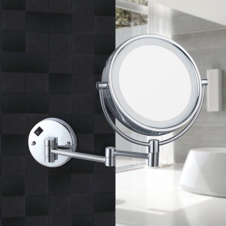Double Face Round Led Magnifying Mirror, Magnifying Wall Mirrors For Bathroom