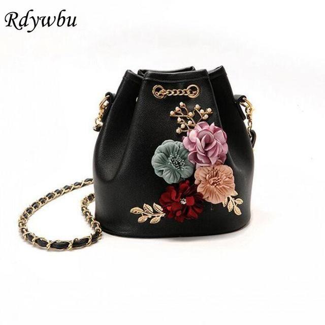 Rdywbu Handmade Flowers Bucket Bags Mini Shoulder Bags With Chain  Drawstring Small Cross Body Bags Pearl Bags Leaves Decals H153 cdf0e19da2c4