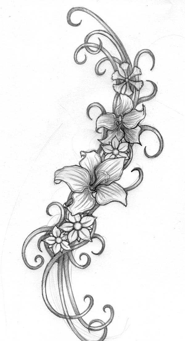 Pin By Home Decor Advice For Shabby C On Ink Swirl Tattoo Flower Drawing Flower Tattoos