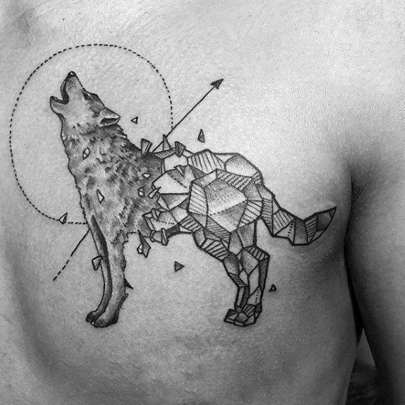 Shattered Rock Geometric Wolf Herren Upper Chest Tattoos Samoantattooschest Geometric Wolf Tattoo Geometric Animal Tattoo Wolf Tattoo Design