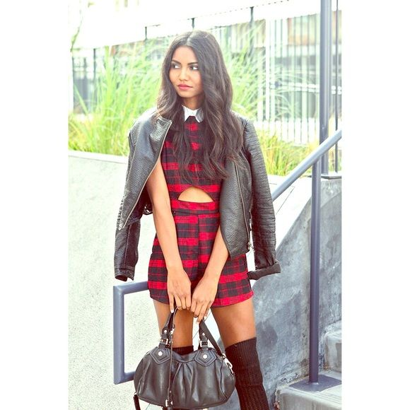 Red/blk romper True to size , red/blk romper w opening under chest Missguided Dresses