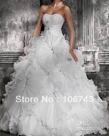 >> Click to Buy << free shipping 2016 new style hot sale Sexy bridal wear Ball Gpwn Sweetheart princess Custom size crystal ruffles wedding dresses #Affiliate