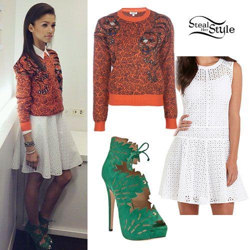 Zendaya: Orange Sweater, Eyelet Dress · Zendaya OutfitsZendaya StyleCelebrity ...