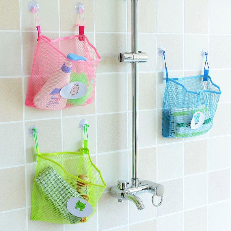 Simple Kids Toys Mesh Storage Bags Suction Cup Bathroom Hanging  Organiser