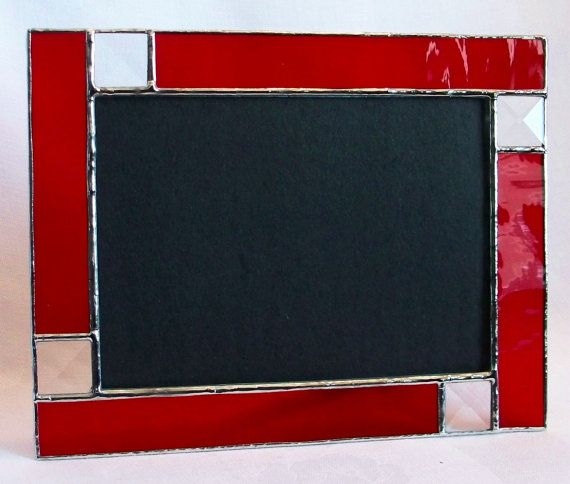 Made to Order - Ruby Red stained glass picture frame 5x7 with bevels