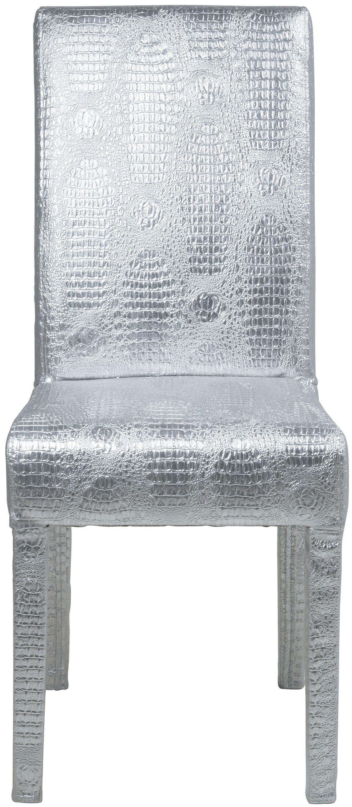 KARE Design Rockstar Stuhl Silber aus Kiefer mit Polyurethanschaum und Bezug aus Polyurethan Kunstleder im Kroko Look.