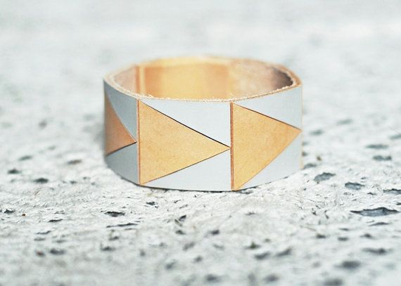 Hand Painted Leather Cuff Bracelet in by BrickAndArrow