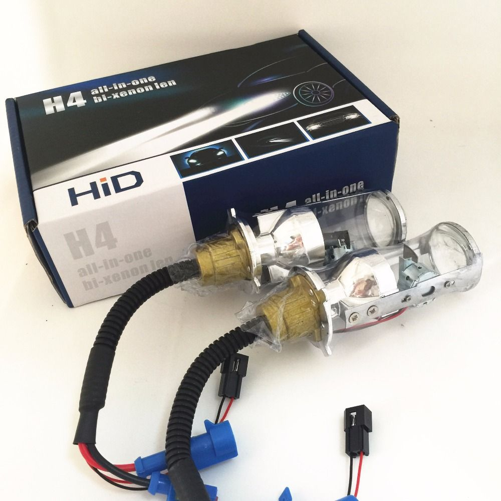 2x 35W Automobile H4 9003 HB2 Hi Lo Beam Spotlight Projector Lens HID XENON Replacement