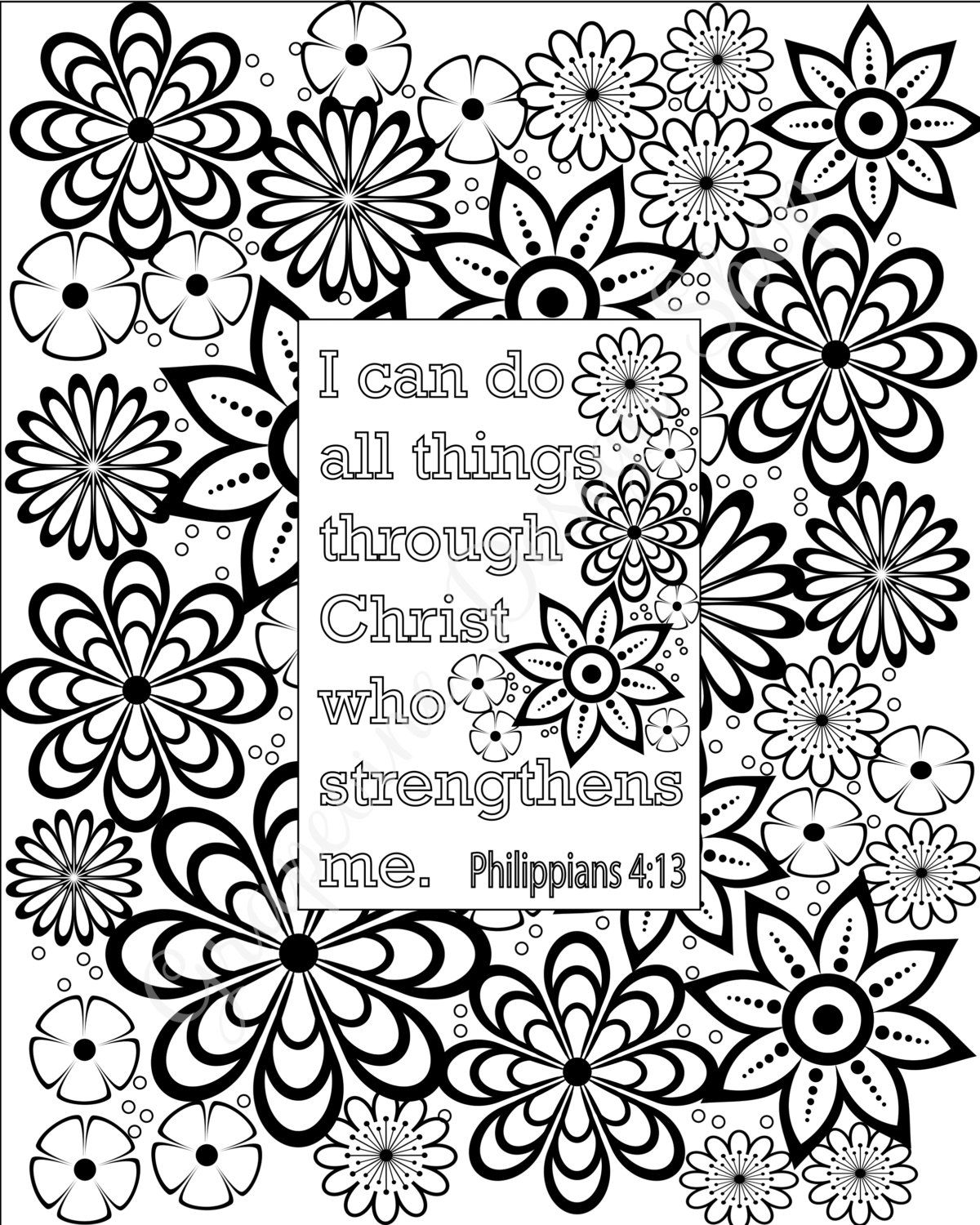 Flower coloring pages Bible verse