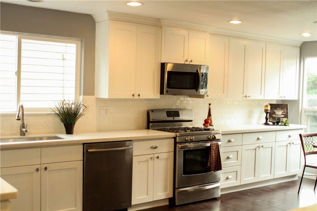white shaker kitchen | white shaker cabinets with snow white