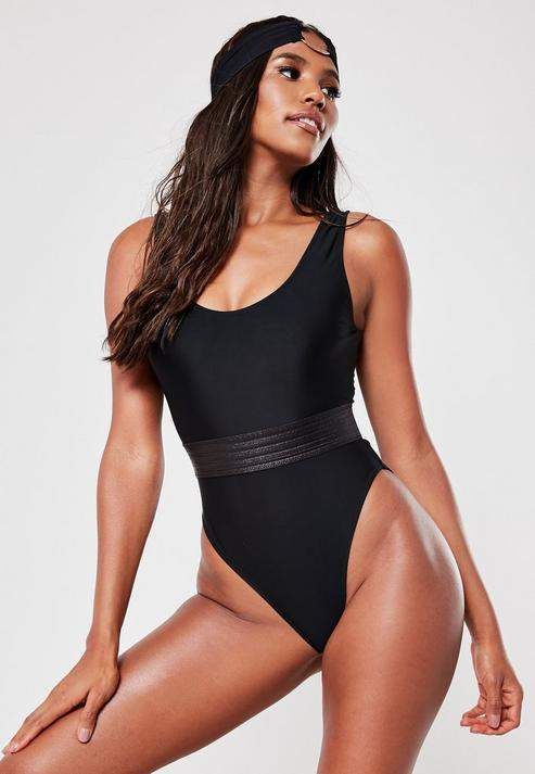 bf2a868891e50 Missguided Black Contrast Waistband Scoop High Leg Swimsuit in 2019 ...