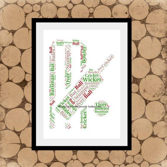 Cricket Themed Print Personalised Cricket Print Cricket Word Etsy Word Collage Print Collage Word Art