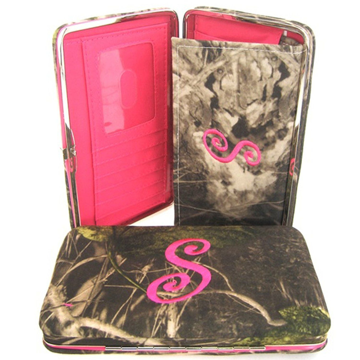 Soft Camo Initial ' S ' Thick Flat Wallet Clutch Purse Hot