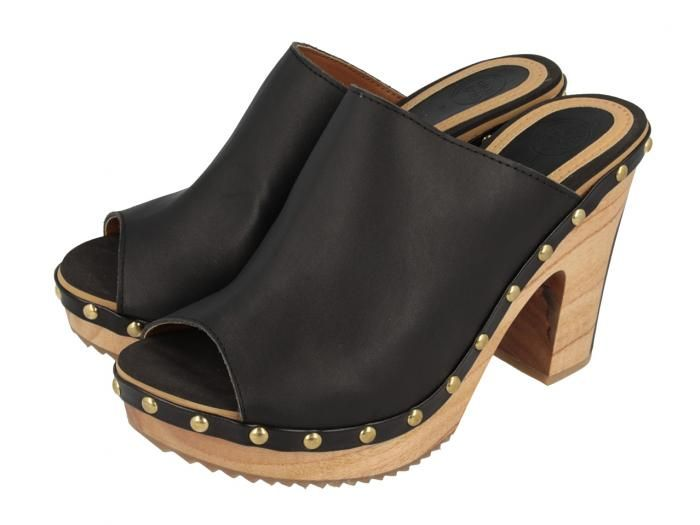 Yesa   Zuecos de madera negros estilo peeptoe con detalles en dorado y 10 42637f65f64