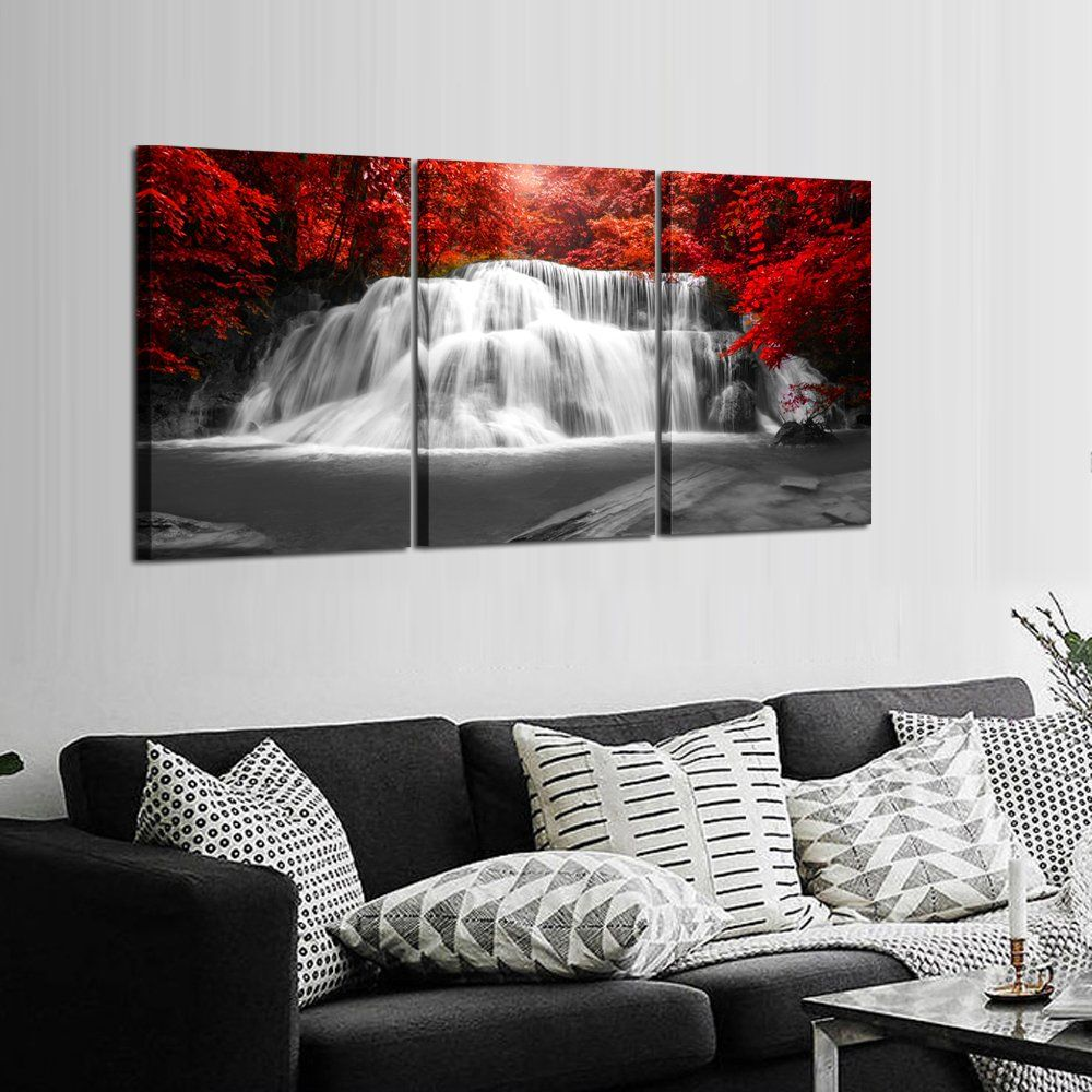 Kreative arts black white and red canvas wall art pieces red woods