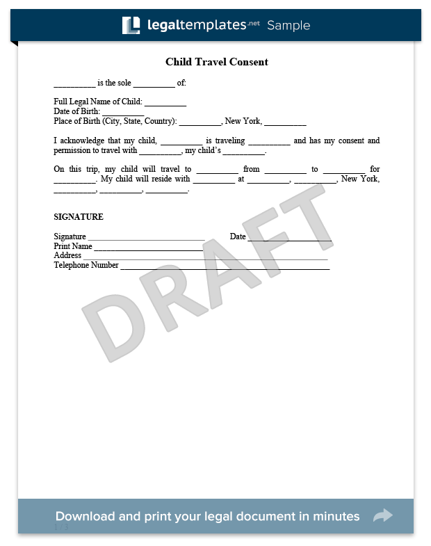 Child Travel Consent Form Sample - For more information on Child ...