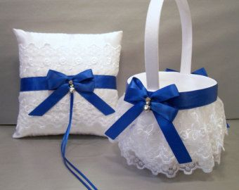 Royal Blue and Silver Grey wedding ring pillow and basket weddings ring cushion and flower girl basket ceremony accessories