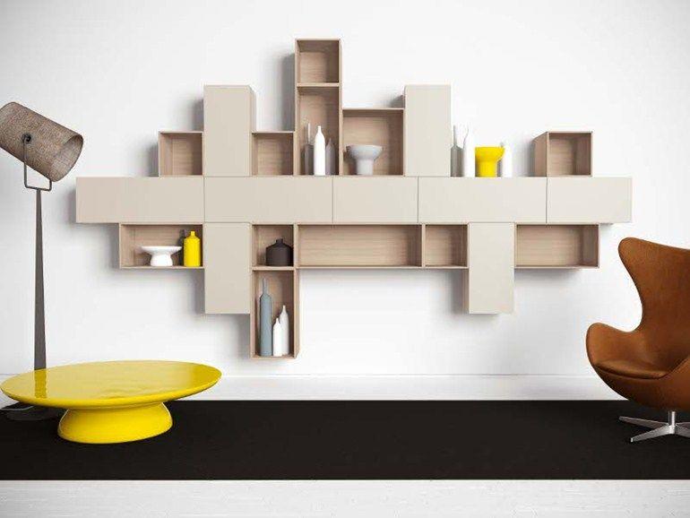Mueble modular de pared montaje pared de madera NEST G140 Colección