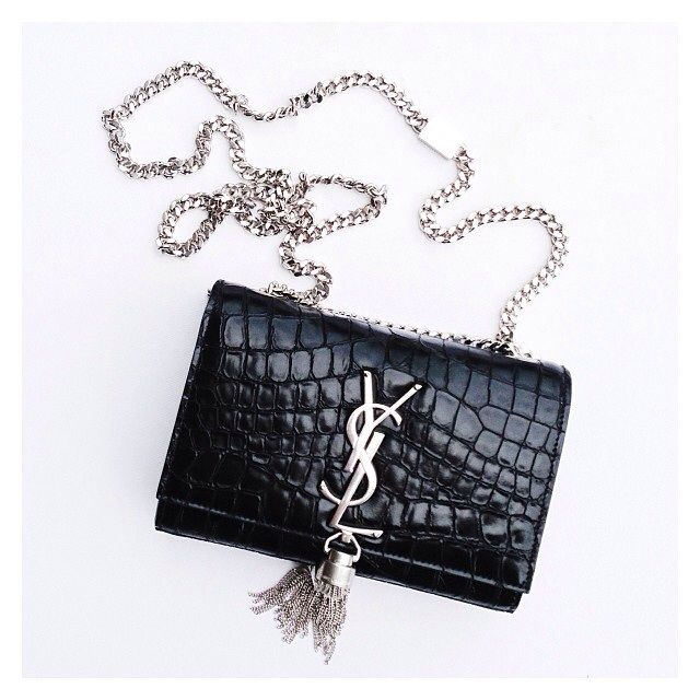 0baf69ad7b73 Saint Laurent Small Tassle YSL Cassandre Crocodile Crossbody Bag ...