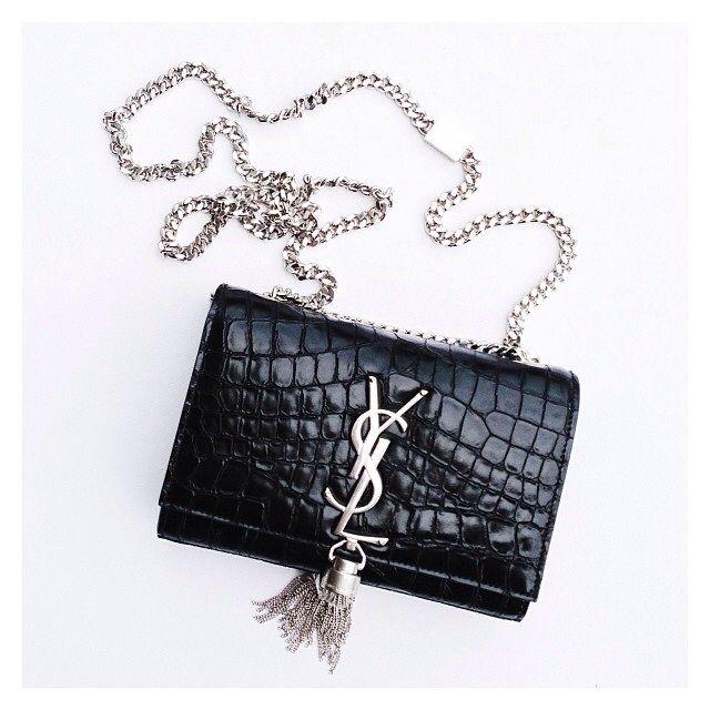 de0f7685e854 Saint Laurent Small Tassle YSL Cassandre Crocodile Crossbody Bag ...