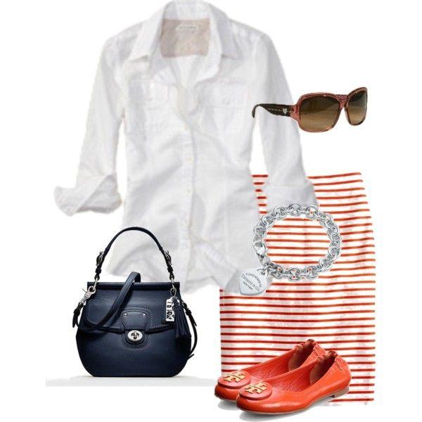 Pencil skirt, crisp white blouse, red flats ...ready for summer!