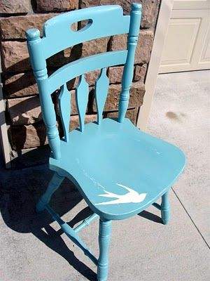 robin's egg blue chair with bird silhouette.... imagine with a mermaid sihouette?