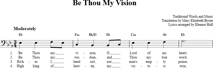 Be Thou My Vision sheet music with chords and lyrics for bass clef ...