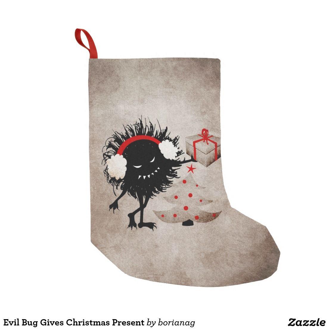 Evil Bug Gives Christmas Present Small Christmas Stocking