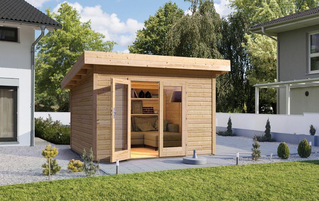 gartenhaus wolff pori 28 mit gro er doppelt r flachdach holzhaus viel licht im innenbereich. Black Bedroom Furniture Sets. Home Design Ideas