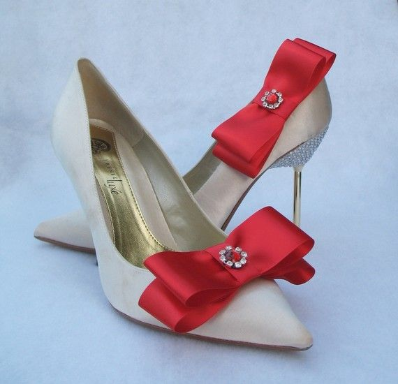 Red Bows And Rhinestones Shoe Clips by Chuletindesigns on Etsy, $22.00