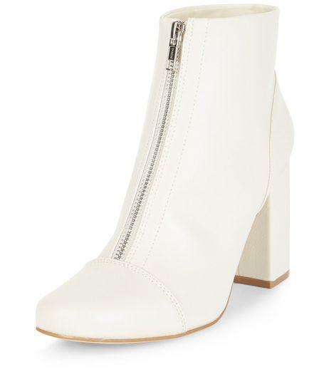 Cream Zip Front Block Heel Ankle Boots | New Look in 2019