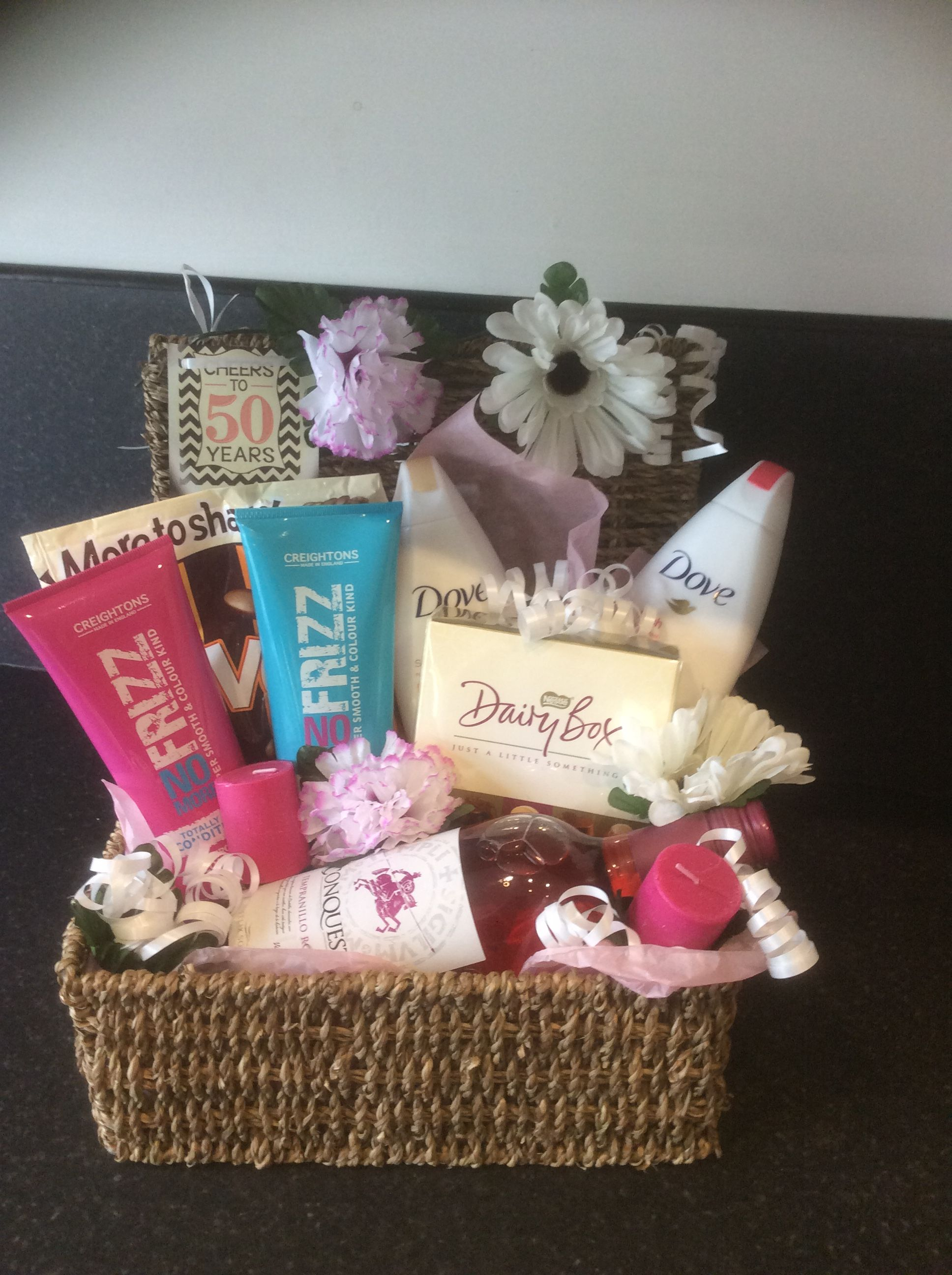 50th Birthday Ladies Gift Basket Gifts For Women Baskets