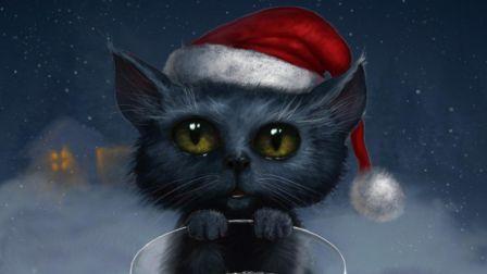 Christmas Cat Art Hat Animals Hd Wallpaper 1609575 Christmas Cats Cat Wallpaper Cat Art