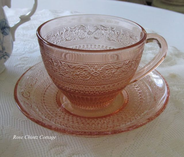 vintage #pink #depression_glass teacup.