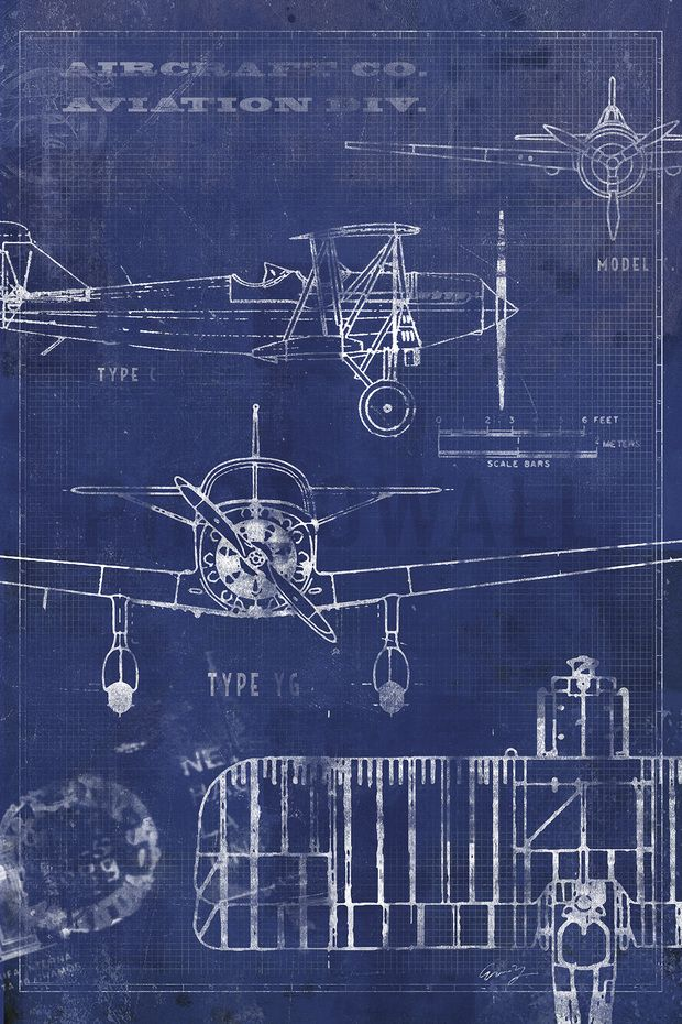 Airplane Blueprint Blueprint Art Airplane Mural